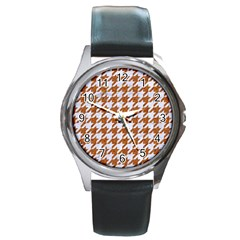 Houndstooth1 White Marble & Rusted Metal Round Metal Watch by trendistuff