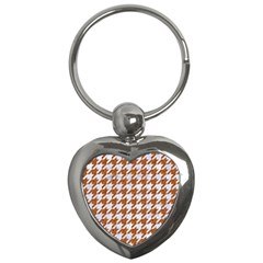 Houndstooth1 White Marble & Rusted Metal Key Chains (heart)  by trendistuff
