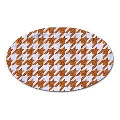 Houndstooth1 White Marble & Rusted Metal Oval Magnet by trendistuff