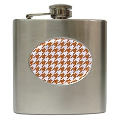 Houndstooth1 White Marble & Rusted Metal Hip Flask (6 Oz) by trendistuff