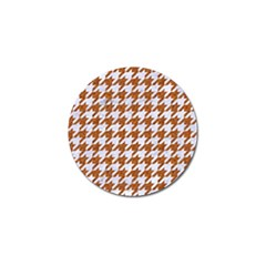 Houndstooth1 White Marble & Rusted Metal Golf Ball Marker by trendistuff
