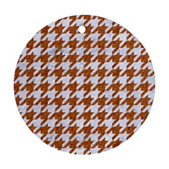 Houndstooth1 White Marble & Rusted Metal Round Ornament (two Sides) by trendistuff
