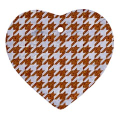 Houndstooth1 White Marble & Rusted Metal Heart Ornament (two Sides) by trendistuff
