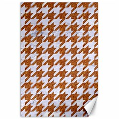 Houndstooth1 White Marble & Rusted Metal Canvas 20  X 30   by trendistuff
