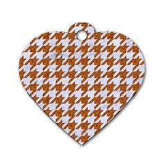 Houndstooth1 White Marble & Rusted Metal Dog Tag Heart (one Side) by trendistuff