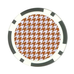 Houndstooth1 White Marble & Rusted Metal Poker Chip Card Guard by trendistuff
