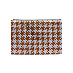 Houndstooth1 White Marble & Rusted Metal Cosmetic Bag (medium)  by trendistuff