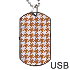 Houndstooth1 White Marble & Rusted Metal Dog Tag Usb Flash (one Side) by trendistuff