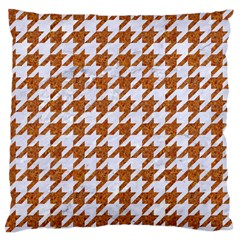 Houndstooth1 White Marble & Rusted Metal Large Flano Cushion Case (two Sides) by trendistuff