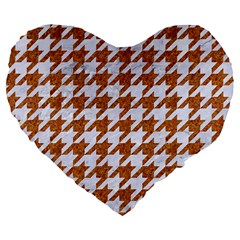 Houndstooth1 White Marble & Rusted Metal Large 19  Premium Flano Heart Shape Cushions by trendistuff