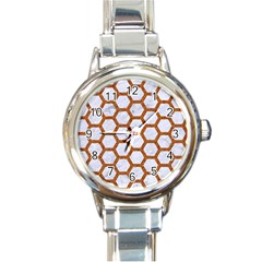 Hexagon2 White Marble & Rusted Metal (r) Round Italian Charm Watch by trendistuff