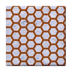 Hexagon2 White Marble & Rusted Metal (r) Tile Coasters by trendistuff