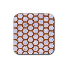 Hexagon2 White Marble & Rusted Metal (r) Rubber Coaster (square)  by trendistuff
