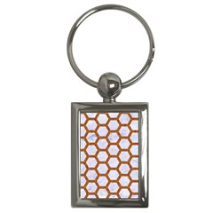 Hexagon2 White Marble & Rusted Metal (r) Key Chains (rectangle)  by trendistuff