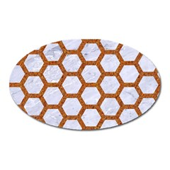 Hexagon2 White Marble & Rusted Metal (r) Oval Magnet by trendistuff