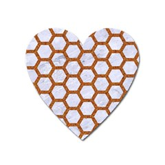 Hexagon2 White Marble & Rusted Metal (r) Heart Magnet by trendistuff