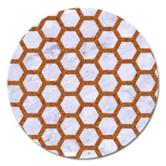 Hexagon2 White Marble & Rusted Metal (r) Magnet 5  (round) by trendistuff