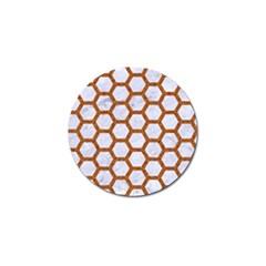 Hexagon2 White Marble & Rusted Metal (r) Golf Ball Marker (10 Pack) by trendistuff