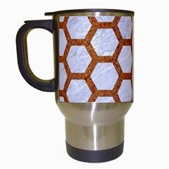 Hexagon2 White Marble & Rusted Metal (r) Travel Mugs (white) by trendistuff