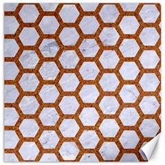 Hexagon2 White Marble & Rusted Metal (r) Canvas 16  X 16   by trendistuff