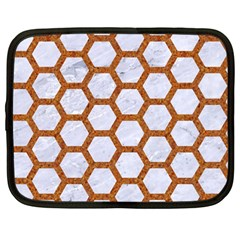Hexagon2 White Marble & Rusted Metal (r) Netbook Case (large) by trendistuff