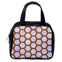 Hexagon2 White Marble & Rusted Metal (r) Classic Handbags (one Side) by trendistuff