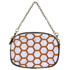 Hexagon2 White Marble & Rusted Metal (r) Chain Purses (two Sides)  by trendistuff