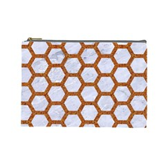 Hexagon2 White Marble & Rusted Metal (r) Cosmetic Bag (large)  by trendistuff
