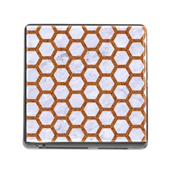 Hexagon2 White Marble & Rusted Metal (r) Memory Card Reader (square) by trendistuff