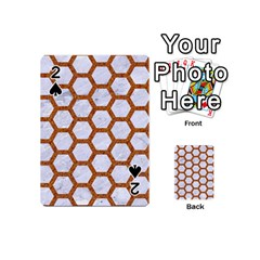 Hexagon2 White Marble & Rusted Metal (r) Playing Cards 54 (mini)  by trendistuff