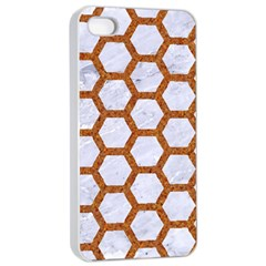 Hexagon2 White Marble & Rusted Metal (r) Apple Iphone 4/4s Seamless Case (white) by trendistuff