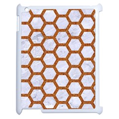 Hexagon2 White Marble & Rusted Metal (r) Apple Ipad 2 Case (white) by trendistuff