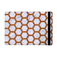 Hexagon2 White Marble & Rusted Metal (r) Apple Ipad Mini Flip Case by trendistuff