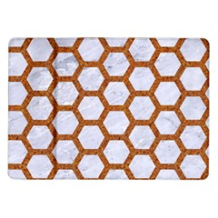 Hexagon2 White Marble & Rusted Metal (r) Samsung Galaxy Tab 10 1  P7500 Flip Case by trendistuff