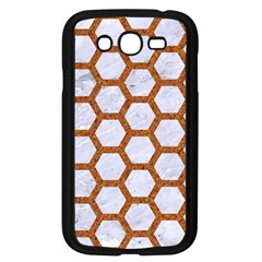Hexagon2 White Marble & Rusted Metal (r) Samsung Galaxy Grand Duos I9082 Case (black) by trendistuff