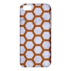 Hexagon2 White Marble & Rusted Metal (r) Apple Iphone 5c Hardshell Case by trendistuff