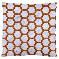 Hexagon2 White Marble & Rusted Metal (r) Large Flano Cushion Case (two Sides) by trendistuff