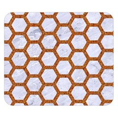 Hexagon2 White Marble & Rusted Metal (r) Double Sided Flano Blanket (small)  by trendistuff