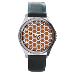 Hexagon2 White Marble & Rusted Metal Round Metal Watch by trendistuff