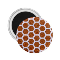 Hexagon2 White Marble & Rusted Metal 2 25  Magnets by trendistuff