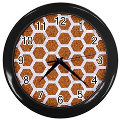 Hexagon2 White Marble & Rusted Metal Wall Clocks (black) by trendistuff