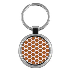 Hexagon2 White Marble & Rusted Metal Key Chains (round)  by trendistuff