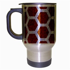 Hexagon2 White Marble & Rusted Metal Travel Mug (silver Gray) by trendistuff