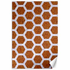 Hexagon2 White Marble & Rusted Metal Canvas 20  X 30   by trendistuff