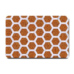 Hexagon2 White Marble & Rusted Metal Small Doormat  by trendistuff