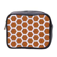 Hexagon2 White Marble & Rusted Metal Mini Toiletries Bag 2 Side by trendistuff