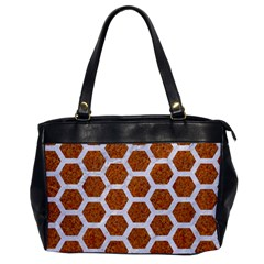 Hexagon2 White Marble & Rusted Metal Office Handbags by trendistuff