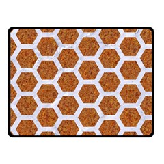 Hexagon2 White Marble & Rusted Metal Fleece Blanket (small) by trendistuff