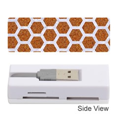 Hexagon2 White Marble & Rusted Metal Memory Card Reader (stick)  by trendistuff