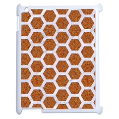 Hexagon2 White Marble & Rusted Metal Apple Ipad 2 Case (white) by trendistuff